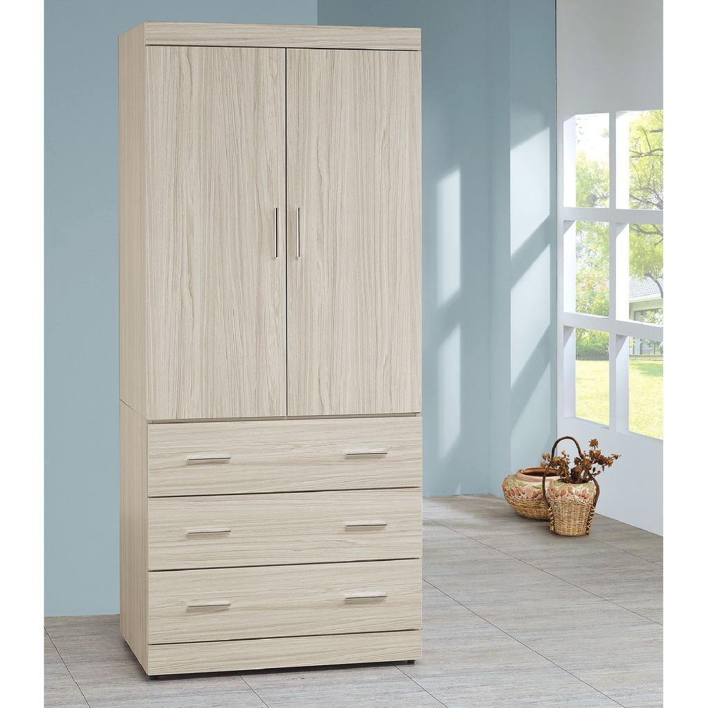 【80cm衣櫥-C609-1】木心板 推門滑門開門 衣服收納 免組裝 【金滿屋】