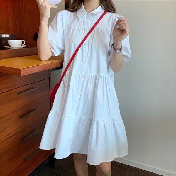 襯衫洋裝 學院風泡泡袖襯衫連身裙女夏款超仙森系學生初戀公主娃娃蛋糕裙子 非凡小鋪