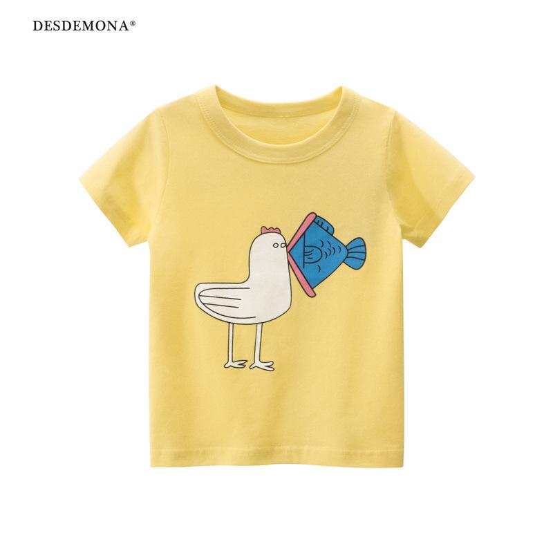 韓版童裝大廠出品 夏季兒童短袖T恤2021新款女寶寶衣服純棉短袖上衣 卡通T恤