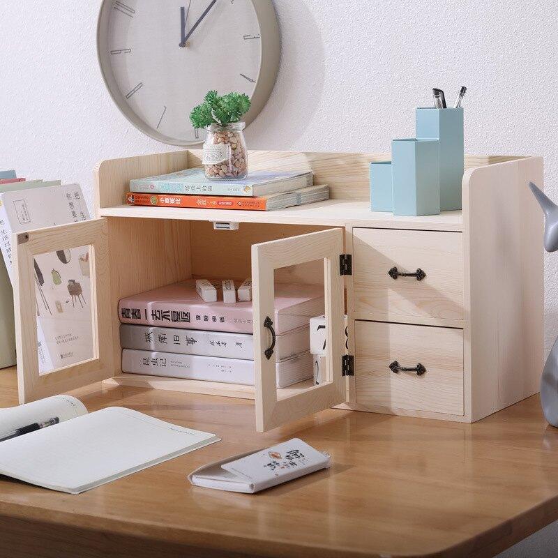 雙抽屜桌面收納實木收納柜收納箱盒化妝品整理抽屜式置物架辦公雙  免運【艾莎嚴選】