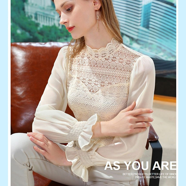 雪紡衫鈎花鏤空拼接喇叭袖蕾絲上衣(三色S-2XL可選)/設計家 AL310098