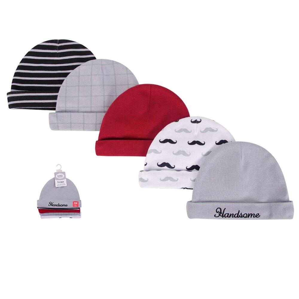 美國 luvable friends  100%純棉新生兒棉帽 保暖帽5件組_翹鬍子(LF34728)