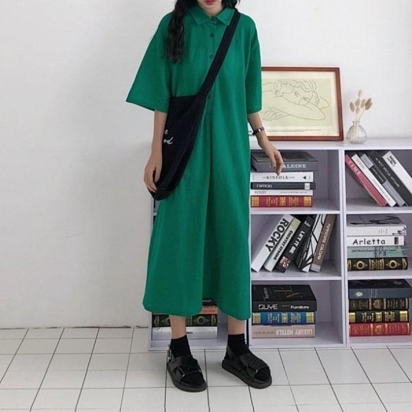 漂亮小媽咪 韓系 五分袖 洋裝 【D2281】純色 寬鬆 翻領 襯衫洋裝 長裙 短袖 中袖 孕婦裝