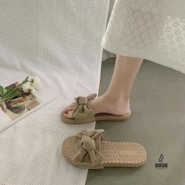 拖鞋女外穿夏季時尚百搭蝴蝶結涼拖平底沙灘鞋【愛物及屋】