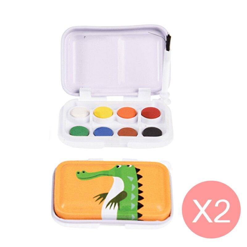 英國 Rex London 幼兒/兒童迷你8色水彩鐵盒組兩入(附水彩筆)_鱷魚_RL28105-C