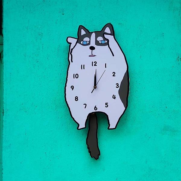 可愛呆萌搞笑卡通狗狗掛鐘哈士奇 臥室客廳搖尾裝飾壁時鐘表掛表