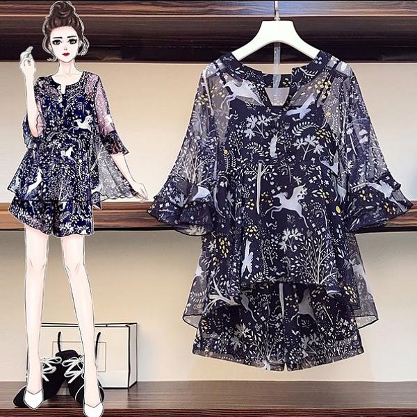 套裝三件套上衣短褲L-5XL中大尺碼棉花糖雪紡衫背心R04.3102胖妹大碼女裝