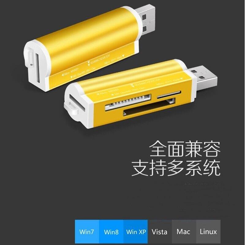 『台灣現貨』四合一高速USB讀卡機 鋁合金 USB2.0讀卡機 4合1多功能讀卡器 電腦  TF/SD內存卡數據讀寫器