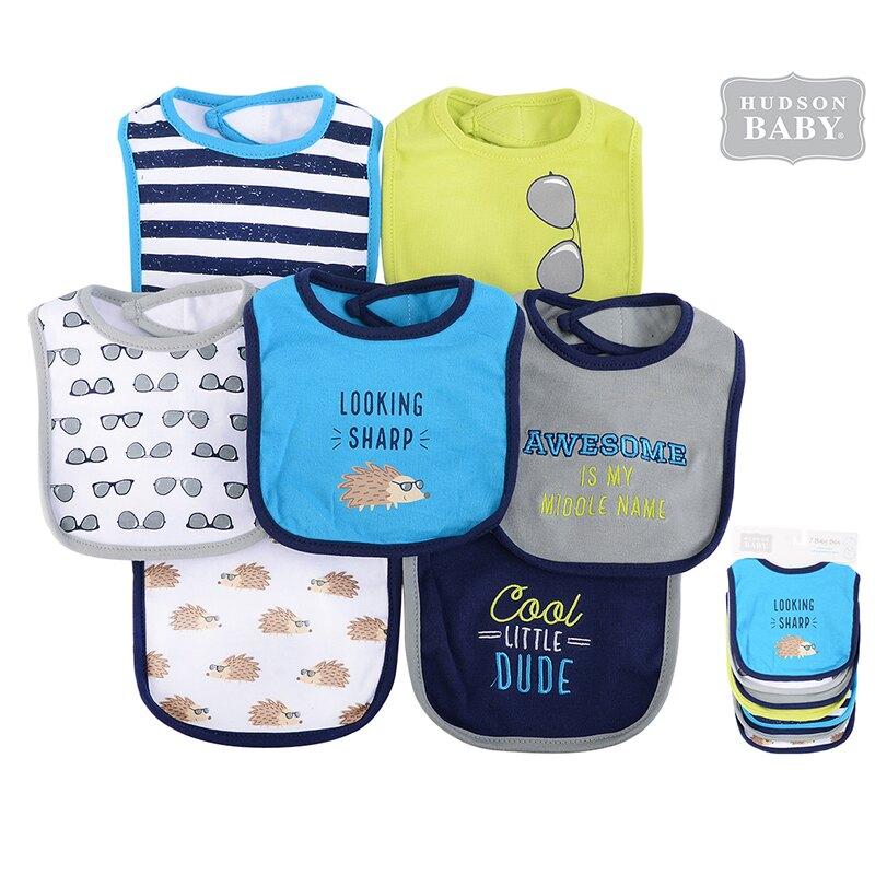 美國 luvable friends  嬰幼兒吸水口水巾圍兜7入組_刺蝟寶寶 (LF51031)