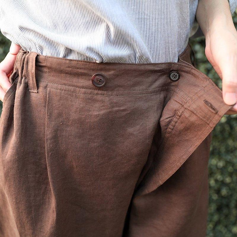 天然亞麻褲斜前鈕扣固定-巧克力棕色