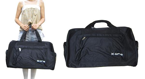 ~雪黛屋~SPYWALK 旅行袋運動袋大容量主袋+外袋共四層防水尼龍布壓扁收手提肩背斜側背SW5305