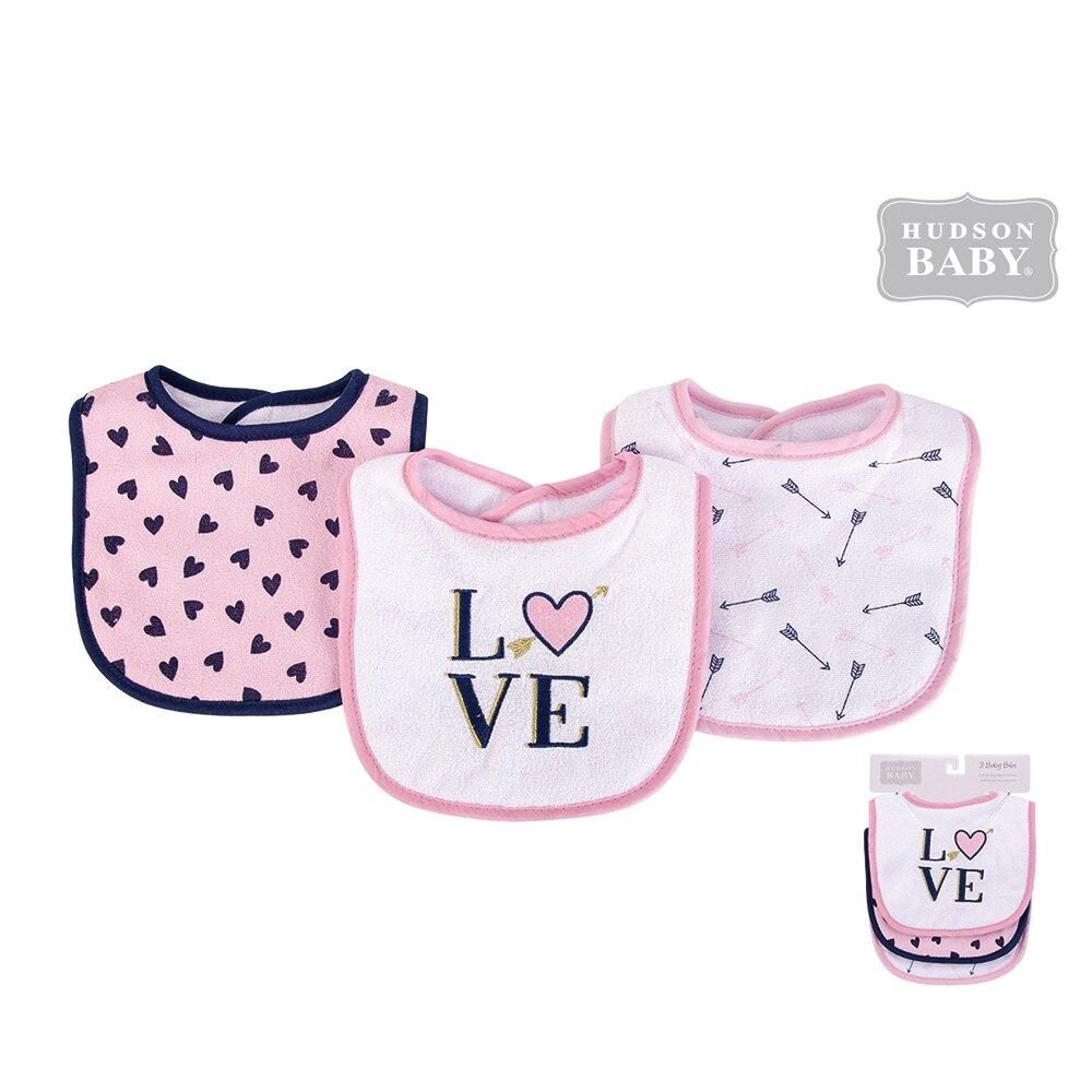 美國 luvable friends  嬰幼兒雙層吸水口水巾圍兜3入組_粉底愛心 (LF56212)