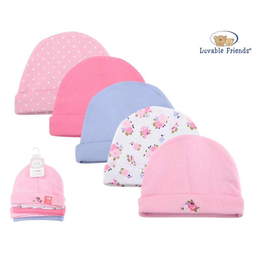 美國 luvable friends  100%純棉新生兒棉帽 保暖帽5件組_花團錦簇(LF34574)