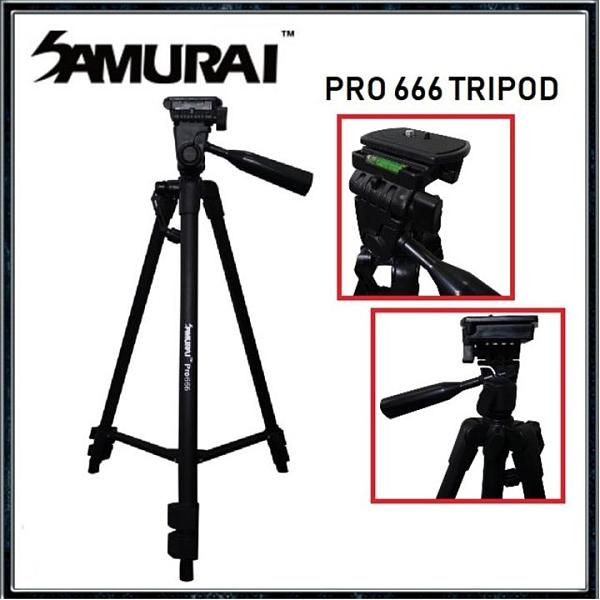 SAMURAI 新武士 Pro 666 輕便型錄影照相三腳架 展開高度135cm 重量690g 公司貨