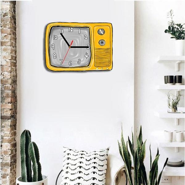 小清新掛鐘表客廳現代簡約復古文藝電視機靜音家用表掛墻石英鐘表