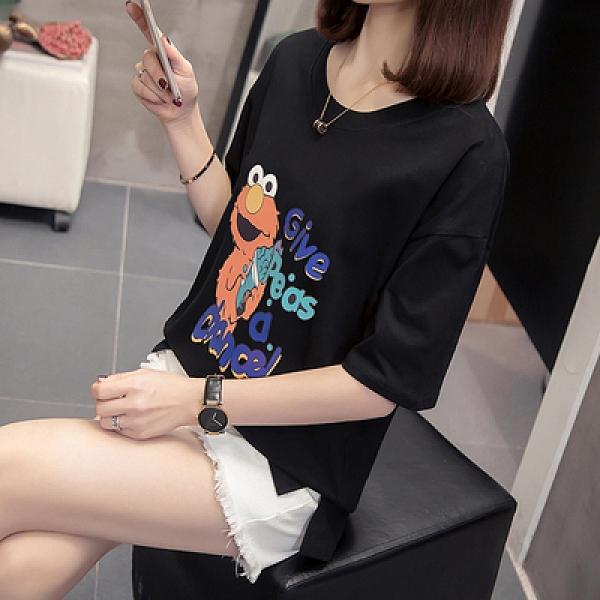 韓系上衣圓領T恤中大尺碼L-4XL 2109胖妹妹短袖上衣洋氣顯瘦t恤打底衫4F050.韓依紡