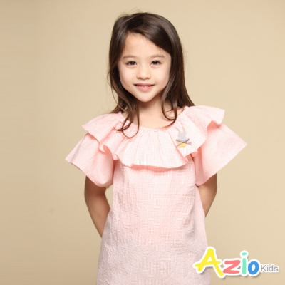 Azio Kids 女童 上衣 領口波浪造型兔子蝴蝶結別針細格紋短袖上衣(粉)