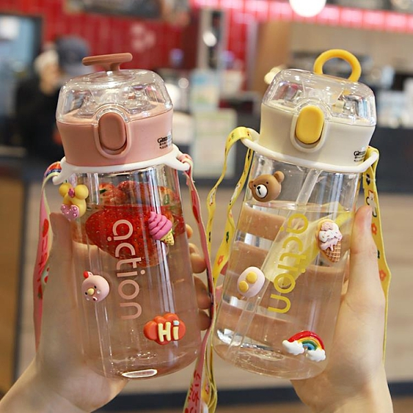 可愛ins風簡約便攜式夏天水杯帶吸管式高顏值水杯子女生塑料兒童 pinkq 時尚女裝