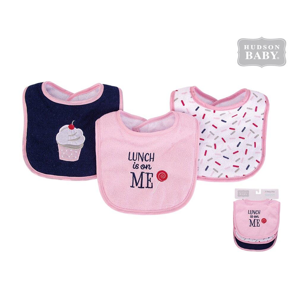 美國 luvable friends  嬰幼兒雙層吸水口水巾圍兜3入組_ 棒棒糖(LF56216)