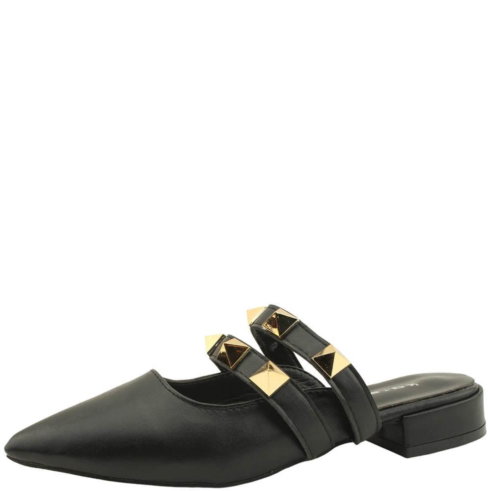 韓國空運 - Gold Stud Stiletto Mule Blower Black 樂福鞋