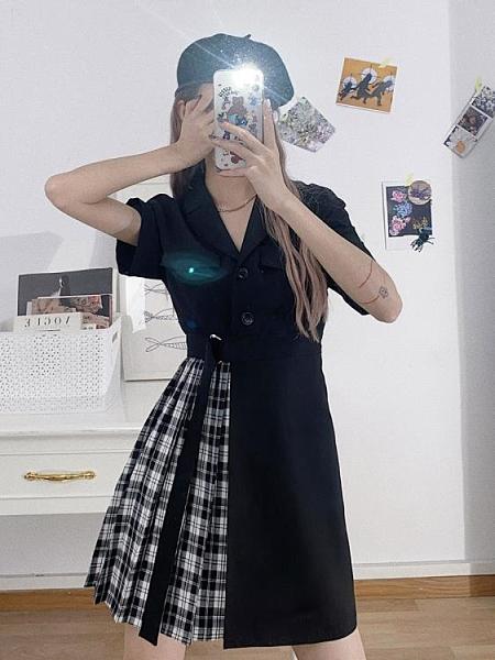 西裝領拼接洋裝M-4XL 連身裙短袖西裝領個性拼接百搭收腰格子時尚不對稱裙子4F039-A 胖丫