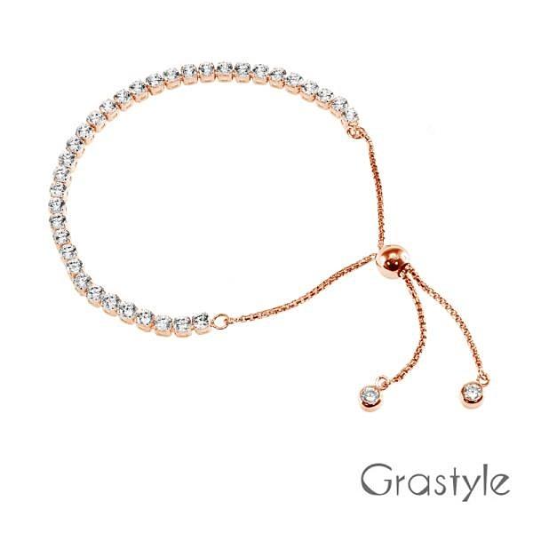 【南紡購物中心】歐莉寶GraStyle 義大利925純銀單排調整手鍊(玫瑰金)