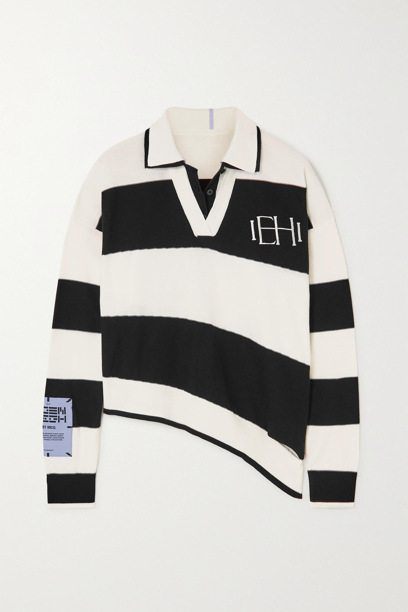 MCQ ALEXANDER MCQUEEN - Eden High 不对称贴花条纹纯棉 Polo 衫 - 白色 - small