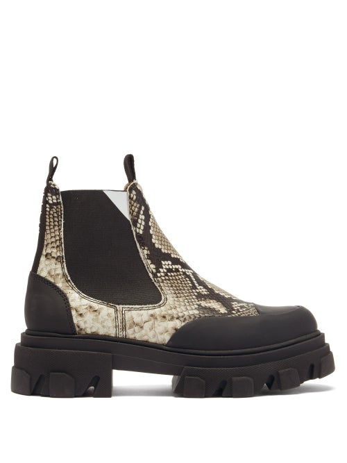 Ganni - Trek-sole Python-effect Leather Chelsea Boots - Womens - Python