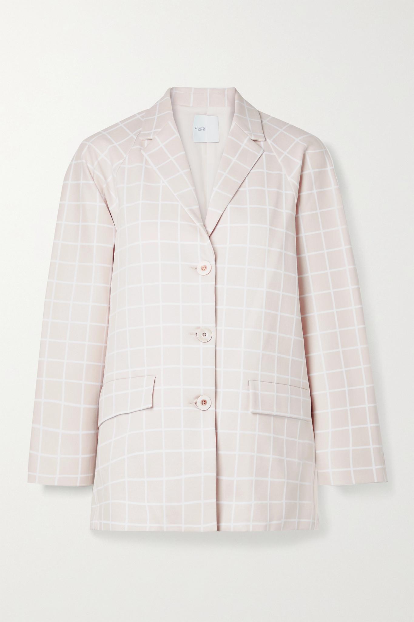 ROSETTA GETTY - Checked Woven Blazer - Neutrals - small