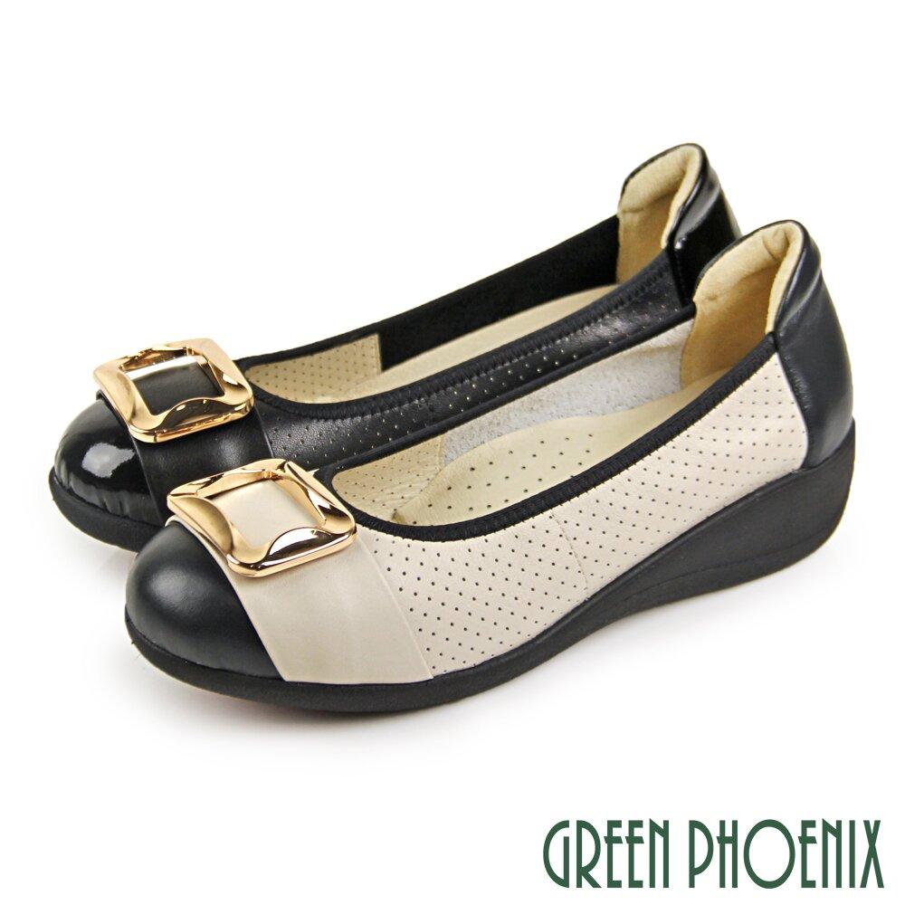 【GREEN PHOENIX】質感方型金屬釦微楔型小坡跟娃娃鞋/通勤/面試鞋U29-21821