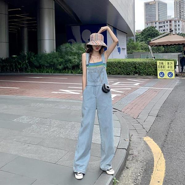 連體褲 闊腿牛仔背帶褲女套裝春秋韓版寬鬆直筒夏季洋氣減齡網紅連體褲子 晶彩