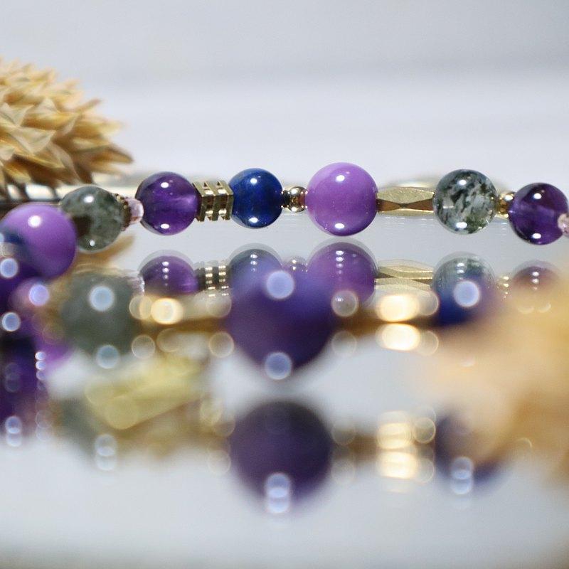 HOPE 黃銅手鍊  紫龍晶/紫雲母/紫水晶/綠幽靈/ 青金石 母親節
