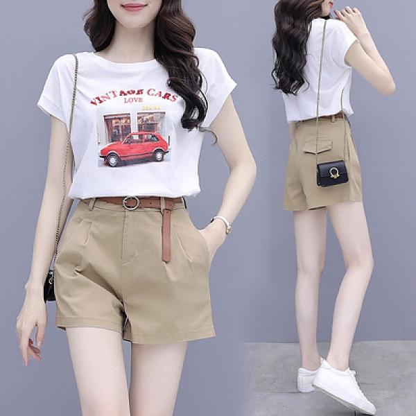 套裝 短袖兩件套S-2XL休閑短褲套裝女夏季時尚洋氣減齡氣質小個子職業兩件套H430B紅粉佳人