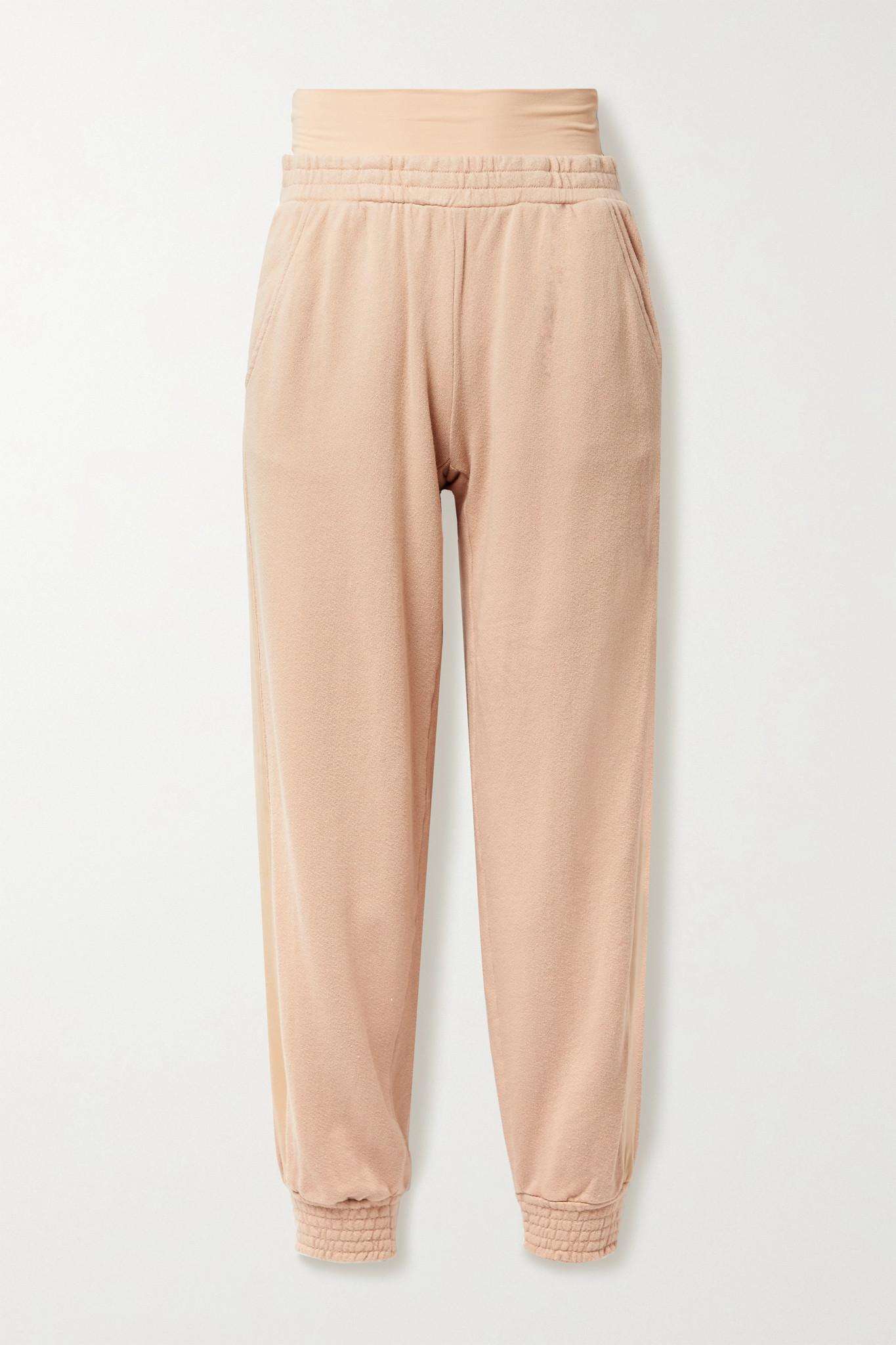 ALICE + OLIVIA - Rio Layered Striped Cotton-jersey Track Pants - Neutrals - x small