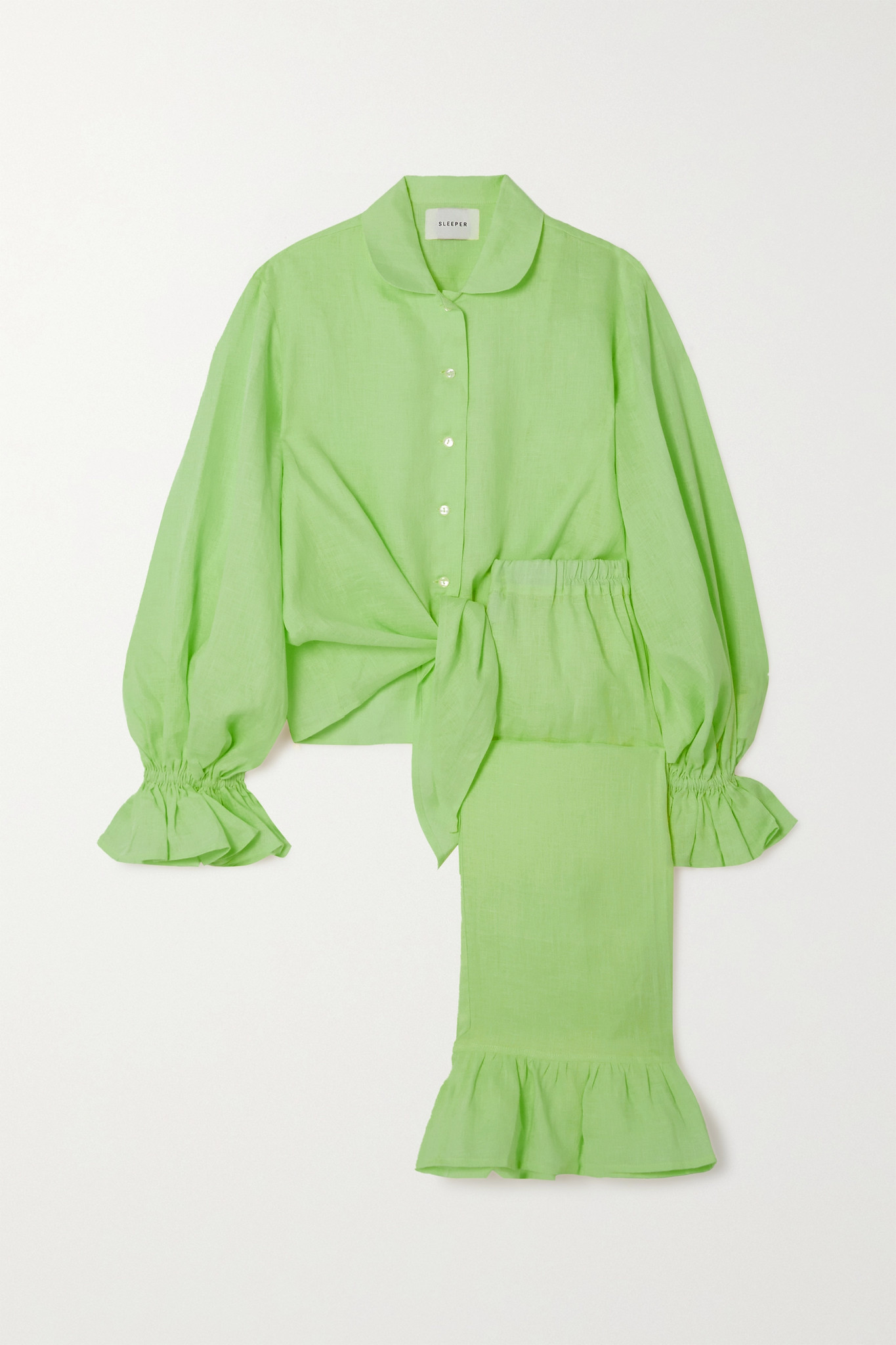 SLEEPER - Rumba Ruffled Linen Shirt And Pants Set - Green - small