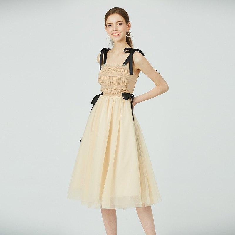 【預購】裊裊動人緞帶微透膚網紗洋裝