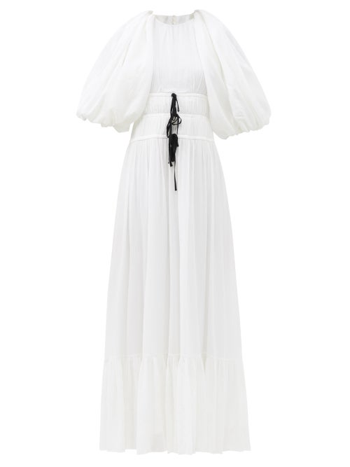 Erdem - Marlyn Drawstring Puff-sleeve Crepe Dress - Womens - White