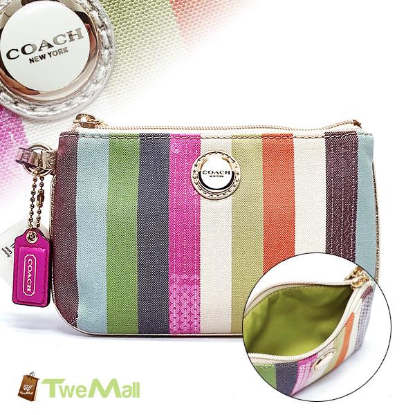 COACH織布彩色直條紋亮片手拿包/零錢包