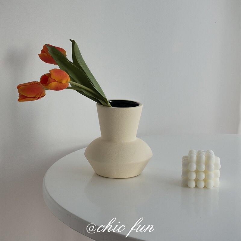 北歐粗陶瓷花瓶家居擺件樣板間裝飾客廳餐桌