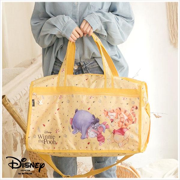天藍小舖-迪士尼系列暖陽小熊維尼家族款大款尼龍旅行袋-單1款-$590【A03031656】