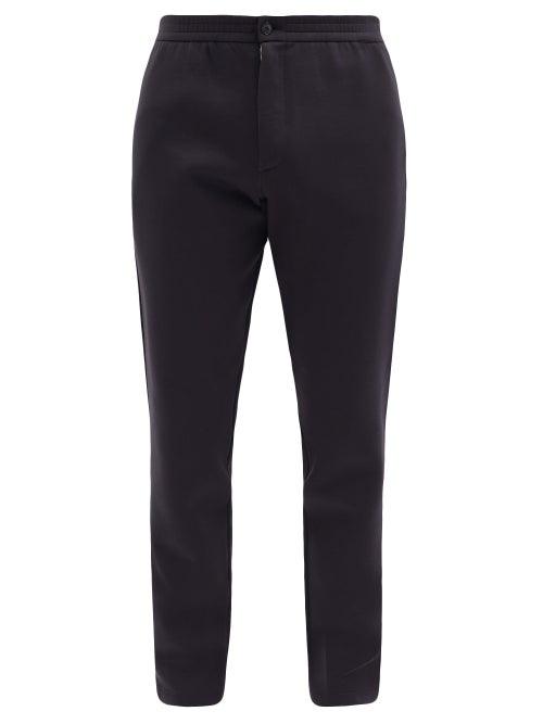 Giorgio Armani - Elasticated-waist Cotton-blend Trousers - Mens - Dark Navy