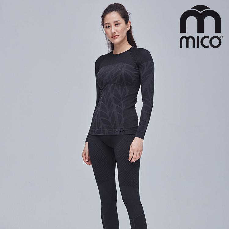 MICO 女圓領無縫美麗諾羊毛保暖上衣 IN1765 (21) / 城市綠洲 (義大利、排汗快乾、舒適透氣、戶外機能)