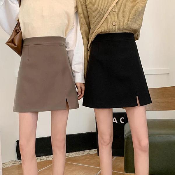 夏季新款韓版高腰包臀裙時尚顯瘦A字裙開叉黑色 咖啡色半身短裙