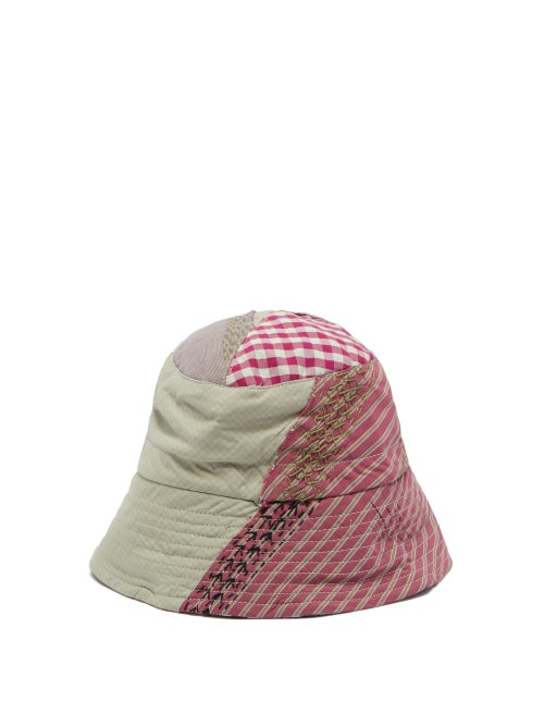 By Walid - Callum Upcycled-patchwork Cotton Bucket Hat - Mens - Green