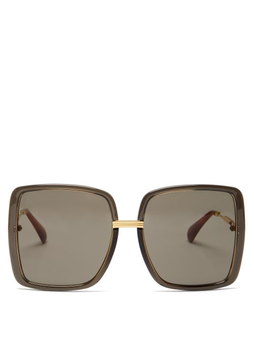 Gucci - Oversized Square Acetate Sunglasses - Womens - Dark Grey