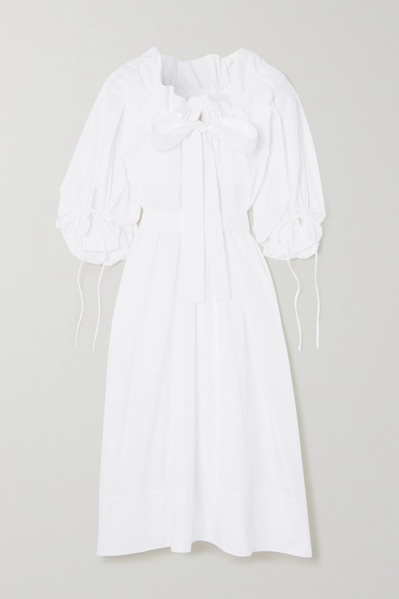 HORROR VACUI - Alice Oversized Tie-detailed Cotton-poplin Midi Dress - White - small