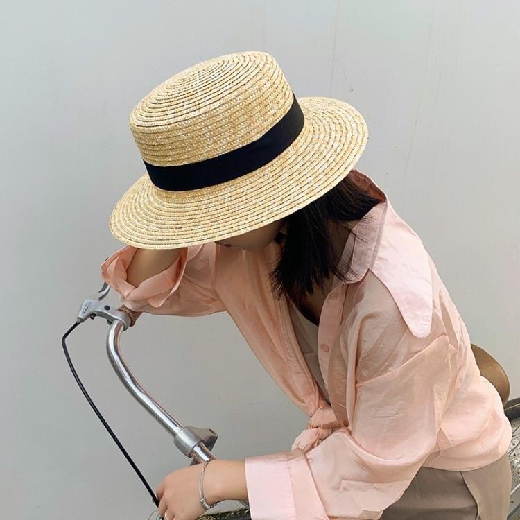沙灘帽 拉菲草帽女防曬遮陽帽子沙灘平頂夏季正韓百搭日系編織漁夫帽    時尚學院