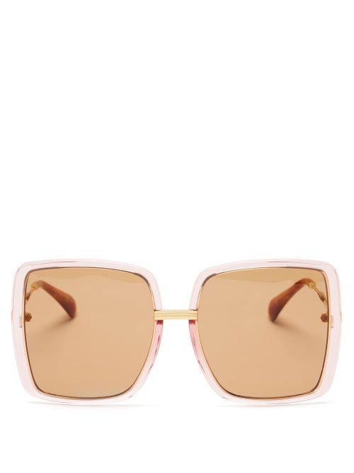 Gucci - Oversized Square Acetate Sunglasses - Womens - Pink