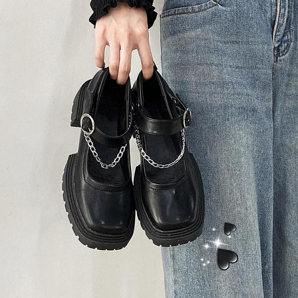 牛津鞋 黑色小皮鞋女英倫風2021新款春秋復古增高厚底鬆糕夏季瑪麗珍jk鞋 美物