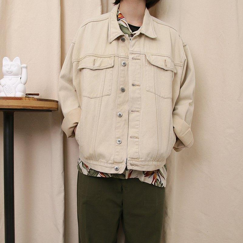 Back to Green:: 丹寧外套 象牙白 denim Jacket